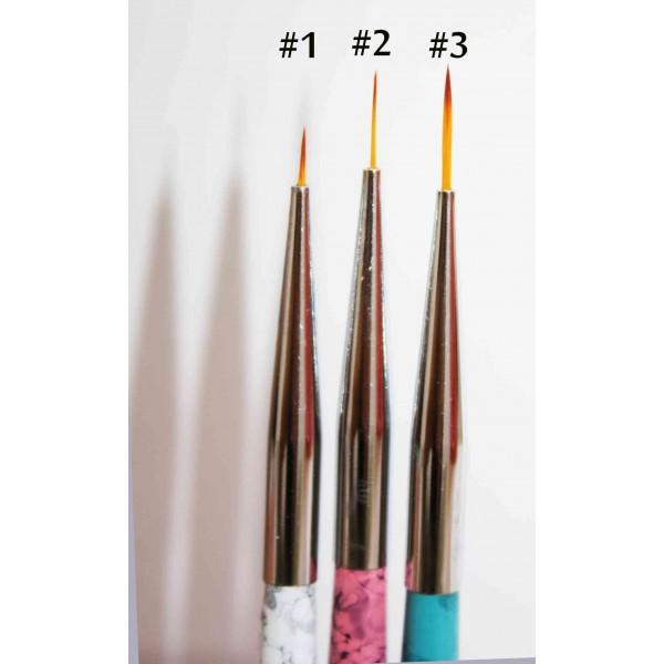 Set 3 nail art brush fine liner